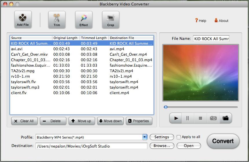 BlackBerry Video Converter for Mac